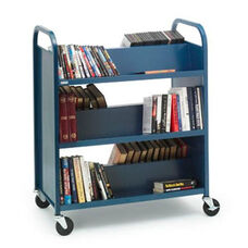 Double Sided Duro Book Truck with Slanted Shelves - 36