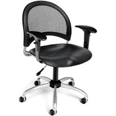 Moon Swivel Plastic Chair with Arms - Black