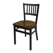 Troy Metal Slat Back Chair - Walnut Wood Seat
