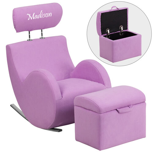 Our Personalized HERCULES Series Lavender Fabric Rocking Chair with Storage Ottoman is on sale now.