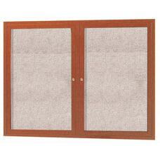 2 Door Outdoor Enclosed Bulletin Board with Aluminum Wood-Look Oak Finish - 36