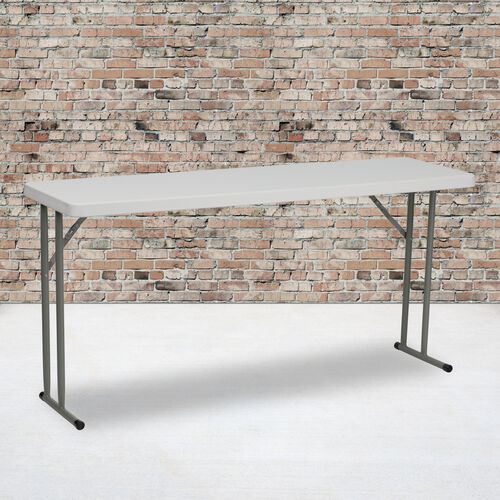 5-Foot Granite White Plastic Folding Training Table
