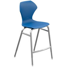 Apex Series Plastic Height Adjustable Stool with Foot Rest - Blue Seat and Chrome Frame - 21