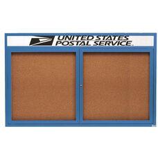 2 Door Indoor Illuminated Enclosed Bulletin Board with Header and Blue Powder Coated Aluminum Frame - 36