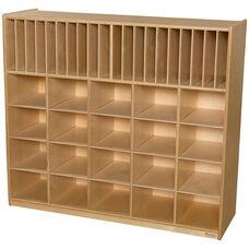 Wooden Multi-Storage Unit with 20 Purple Plastic Storage Trays - 48