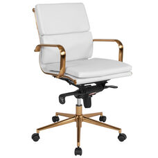 Mid-Back White LeatherSoft Executive Swivel Office Chair with Gold Frame, Synchro-Tilt Mechanism and Arms