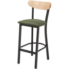 3319K Series Square Steel Frame Armless Cafe Barstool with Curved High Wood Back and Upholstered Seat