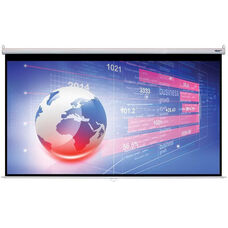White Wall Mountable Pull-Down Projection Screen with Matte White Fabric Screen and White Aluminum Housing - 131