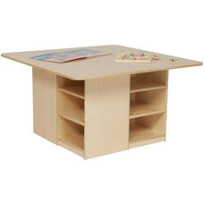 Wooden Cubby Table with 12 Orange Plastic Trays - 36