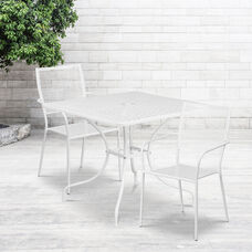 "Commercial Grade 35.5"" Square White Indoor-Outdoor Steel Patio Table Set with 2 Square Back Chairs"