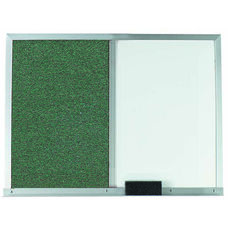 Green Fabric Tack Board Next to a Melamine Marker Board with Aluminum Frame