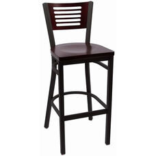Jones River Series Wood Back Armless Barstool with Steel Frame and Wood Seat - Mahogany