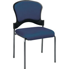 Pro-Line II Armless Upholstered Contour Back Stacking Visitors Chair with Titanium Finish Frame - Azul