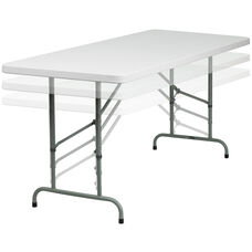 6-Foot Height Adjustable Granite White Plastic Folding Table
