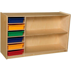 Wooden Mobile Two Shelf Storage Unit with 6 Assorted Plastic Letter Trays - 48