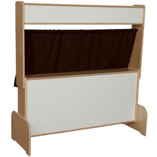 Deluxe Wooden Puppet Theater with Markerboard and Brown Curtains - 47