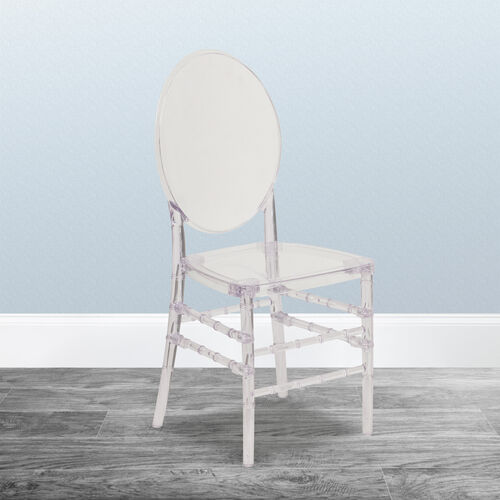 "Flash Elegance Crystal Ice Stacking Florence Chair with <span style=""color:#0000CD;"">Free </span> Cushion"