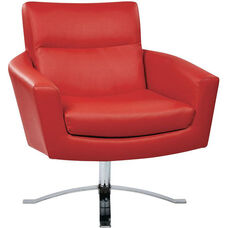 Ave Six Nova Faux Leather Chair with Wide Star Base and Protective Floor Glides - Red