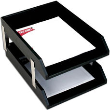 Classic Leather Double Front Load Legal Size Trays with Silver Posts - Black