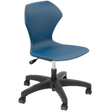 Apex Series Plastic Height Adjustable Task Chair with 5 Star Base - Navy Seat - 25