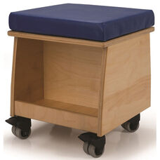 Laminate Birchwood Rolling Teacher Stool with Comfortable Blue Cushion - 13.5