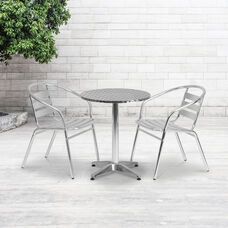 23.5'' Round Aluminum Indoor-Outdoor Table Set with 2 Slat Back Chairs