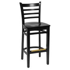 Burlington Black Wood Ladder Back Barstool - Wood Seat