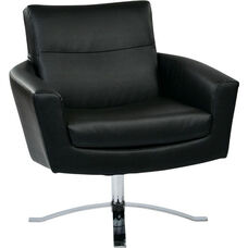 Ave Six Nova Faux Leather Chair with Wide Star Base and Protective Floor Glides - Black
