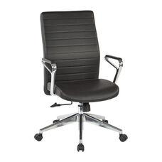OSP Furniture Bonded Leather Managers Office Chair with Padded Polished Aluminum Arms and Base - Black