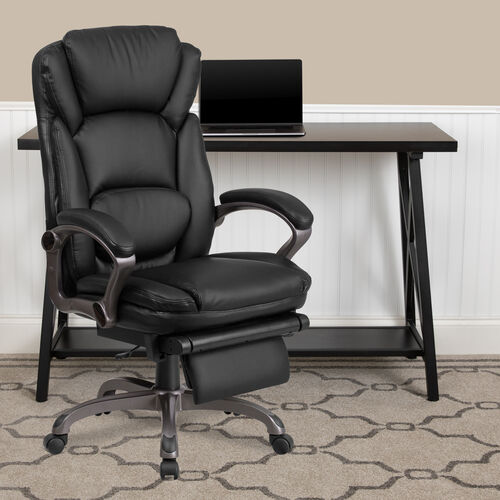 Our High Back Black LeatherSoft Executive Reclining Ergonomic Swivel Office Chair with Outer Lumbar Cushion and Arms is on sale now.