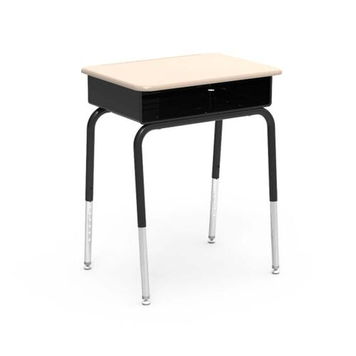 Quick Ship 785 Series Hard Plastic Sandstone Top Student Desk with Black Open Front Metal Book Box and Legs - 18