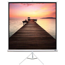 White Portable Height Adjustable Tripod Projection Screen with Matte White Fabric Screen and White Steel Casing - 70