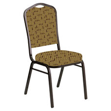 Crown Back Banquet Chair in Eclipse Amber Fabric - Gold Vein Frame