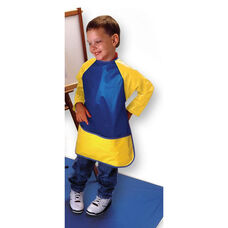 Super Soft Vinyl Full Protection Long Sleeve Smock with Front Pocket - Blue and Yellow