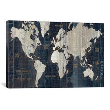 Old World Map Blue by Wild Apple Portfolio Gallery Wrapped Canvas Artwork