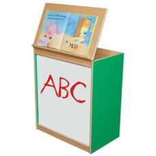Green Apple Big Book Display and Storage with Locking Piano Hinged Top with Marker Board on Front - Assembled - 24