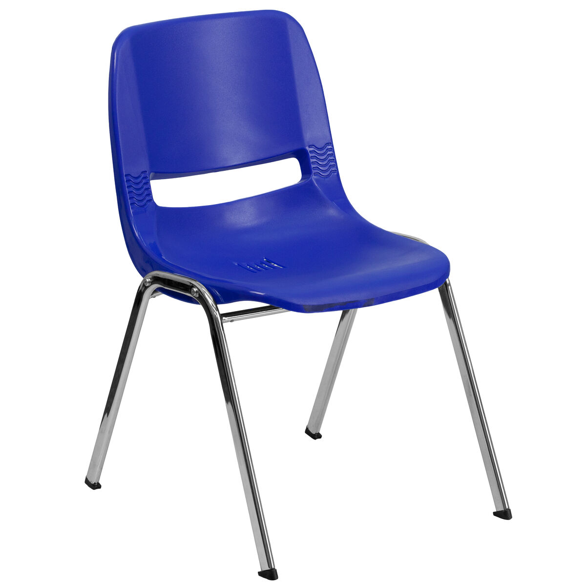 Tobago Stacking Chair Brown Chrome: Navy Plastic Stack Chair RUT-18-NVY-CHR-GG