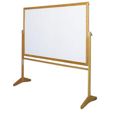 Premiere Series Reversible Mobile Markerboard with Wood Frame - 48