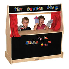 Birch Hardwood Puppet Theater with Flannel Marquee and Presentation Boards