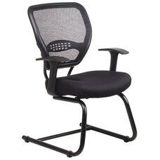 Space Air Grid Series Air Grid Back Visitors Chair with Mesh Seat - Black