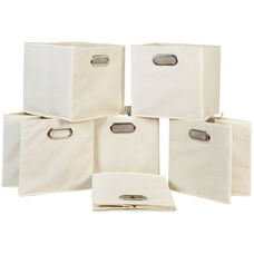 Niche Cubo Foldable Fabric Storage Bins with Handle - Set of 6 - Beige