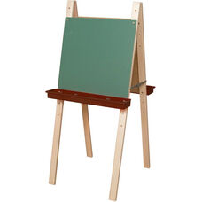 Double Sided Adjustable Art Easel with Chalkboard and Brown Trays - 24