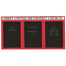 3 Door Outdoor Enclosed Directory Board with Header and Red Anodized Aluminum Frame - 48