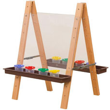 Tot Size Double Sided Acrylic Easel with 8 Paint Cups and Brown Trays - 20