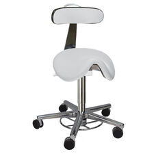 Tasq Saddle Stool with Gray Vinyl Seat and Backrest and Base with Self-Braking Casters - Low Profile