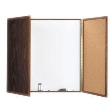 Enclosed Walnut Melamine Planning Markerboard with Pebble Grain Tackboard - 40''H x 40''W x 3''D