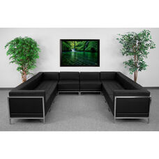 HERCULES Imagination Series Black LeatherSoft U-Shape Sectional Configuration, 10 Pieces