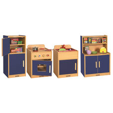 Colorful Essentials 4 Piece Full Preschool Kitchen Play Station Set - Blue