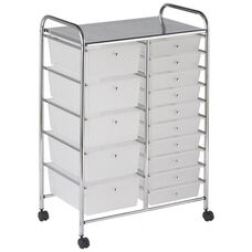 15 Drawer Mobile Organizer with Chrome-Plated Top Shelf and White Pullout Drawers