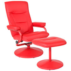 Chelsea Contemporary Multi-Position Recliner and Ottoman in Red Vinyl